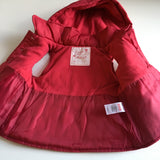 Red Quilted Gilet with Bow and Hood, Sleeveless Jacket - Girls 3-6m