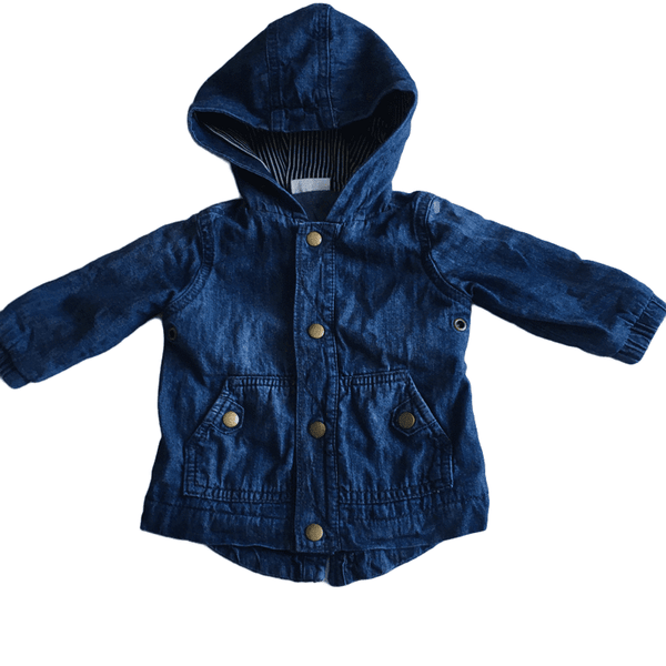 Blue Denim Jacket with Navy Stripe Hood - Boys 3-6m