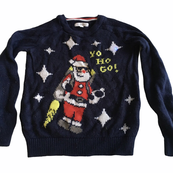 Bluezoo Boys Navy Blue Yo Ho Go! Santa Light Up Christmas Jumper - Boys 5-6yrs