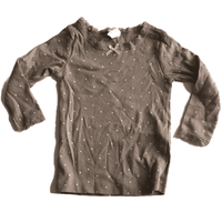 Brown Lace Trim Top with White Stars - Girls 4-6m