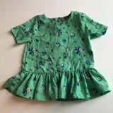 Pretty Green Floral Peplum Style Top - Girls 9-12m