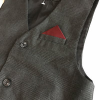 Tweed Style Boys Smart Waistcoat with Hankerchief Pocket Party - Boys 8yrs