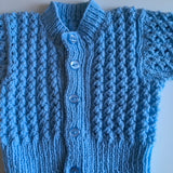Baby Blue Hand Knitted Cardigan - Boys 3-6m