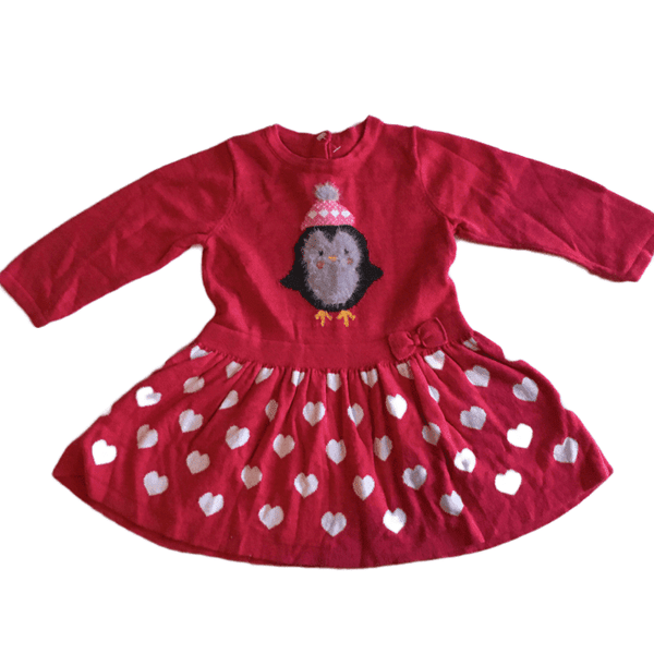 Beautiful Girls Red Jumper Dress with Festive Christmas Penguin and Hearts - Girls 6-9m