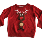 Red Reindeer Front and Back Christmas Jumper - Boys 2-3