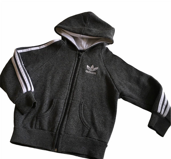 Adidas Grey/White Stripe Zip Up Hoodie Jumper - Unisex 5-6yrs