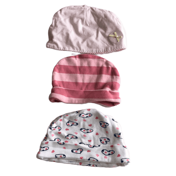 Bundle of 3 x Baby Girl Hats - Girls 3-6m
