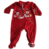 Brand New Dear Santa Mickey & Minnie Mouse Disney Store Red Sleepsuit - Unisex 6-9m