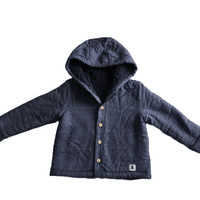 Cute Blue Fleece Lined Jacket with Hood - Boys 12-18m