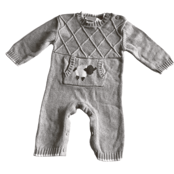 Adorable Grey Knitted Romper with Lamb Design - Unisex 12m
