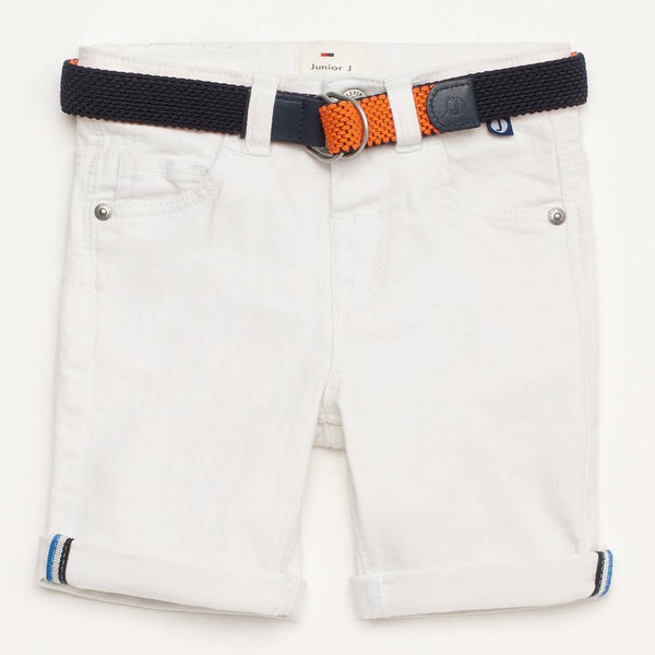 J by Jasper Conran Boys White Reversible Belt Denim Shorts