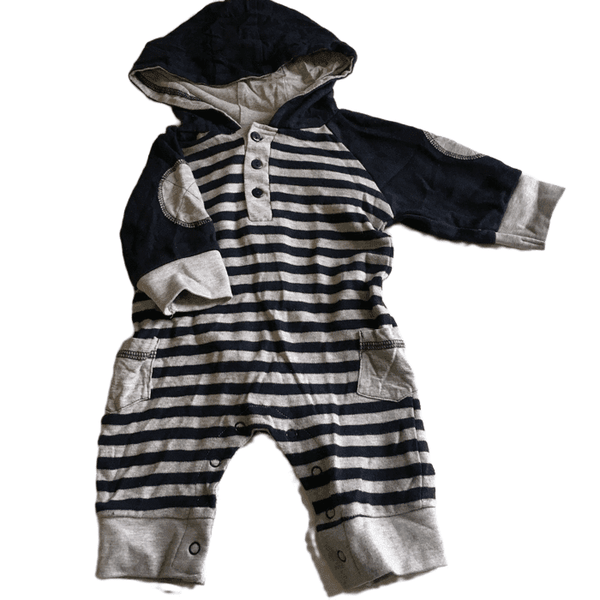 Lily & Jack Boys Grey/Navy Striped Hooded Romper with Elbow Patches - Boys 0-3m