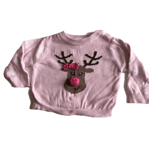 Baby Girl's First Christmas Jumper with Reindeer - Girls 0-3m