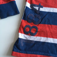 1884 Boys Red, Blue & White L/S Rugby Polo Shirt - Boys 5-6yrs