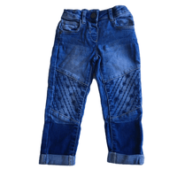 Nutmeg Girls Blue Stretch Jeans with Embroidered Knees and Adjustable Waist - Girls 12-18m