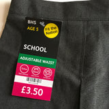 Brand New BHS Girls Grey School Skirt with Adjustable Waist - Girls 5yrs