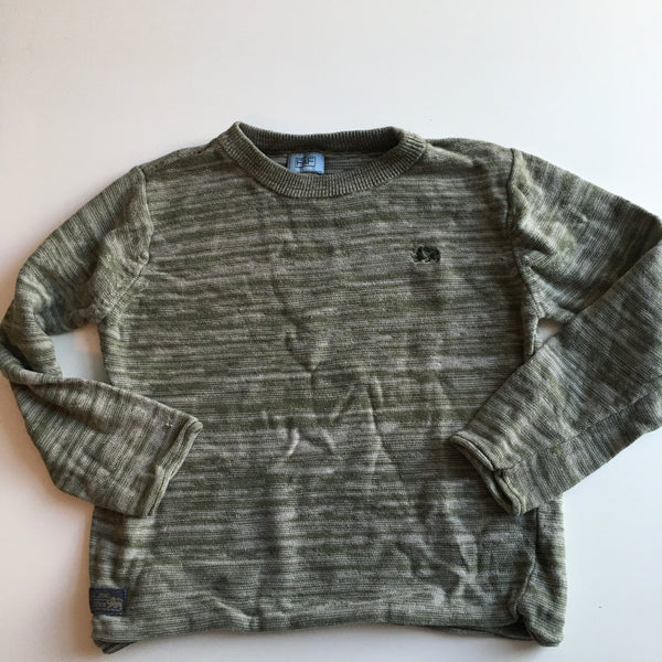 Khaki Green Boys Thin Knit Jumper with Dragon Motif - Boys 2-3yrs