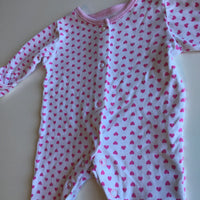 George White and Pink Heart Print Sleepsuit - Girls Tiny Baby