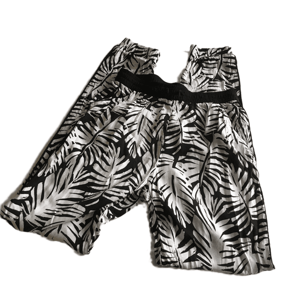 H&M Black and White Leaf Print Summer Trousers - Girls 13-14yrs