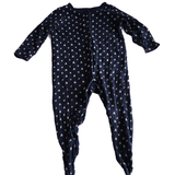 Navy Blue Sleepsuit with Pink Hearts - Girls 6-9m