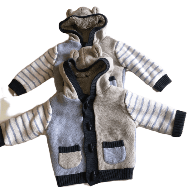 Twin Boys Nutmeg Grey/Blue Extra Thick Winter Duffle Cardigans With Hood - Boys 3-6m