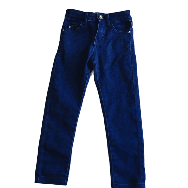 M&Co Girls Dark Blue Slim Leg Jeans with Adjustable Waist - Girls 3-4yrs