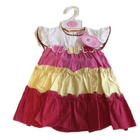 Brand New Girls Red Yellow and White Cotton Butterfly Summer Ruffle Dress - Girls 12m