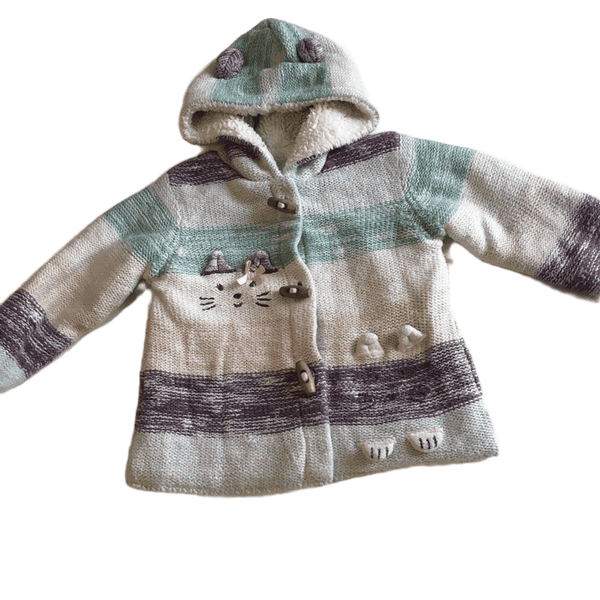 Adorable Thick Striped Duffle Cardigan with Hood and Cat Design - Girls 9-12m
