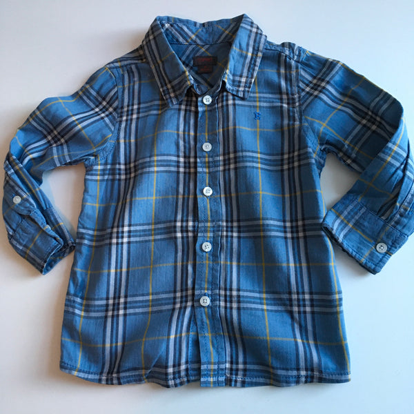 Blue Tartan Checked Boys L/S Shirt - Boys 18m