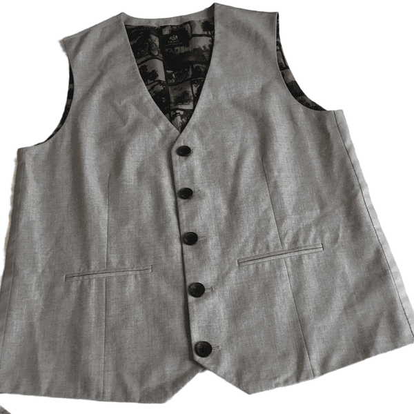 Smart Grey Marl Boys  - Party Waistcoat with Biker B&W Print Lining - Boys 16yrs