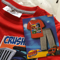 Brand New Blaze and the Monster Machines Official Boys S/S Trouser Pyjamas Red/Grey - Boys 18-24m