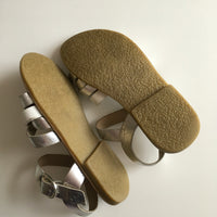 Next Silver & White Leather Girls Sandals - UK 11 EUR 29