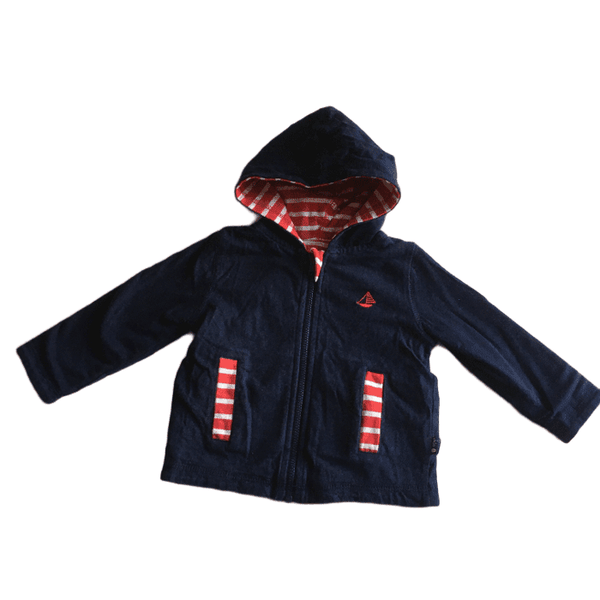 Jojo Maman Bebe Navy/Red Stripe Reversible Hoodie Zip up Soft Jersey Jacket - Unisex 3-6m