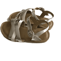 Next Silver & White Leather Girls Sandals