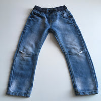 Light Blue Jeans with Elasticated Navy Waistband and Torn Knees - Boys 4-5yrs