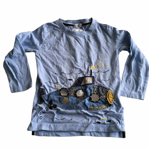 Jasper Conran Junior J Boys Blue Submarine L/S Top - Boys 3-4yrs