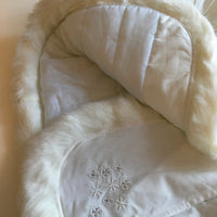 Brand New Couche Tot Designer Baby Girls Arctic White Coat with Faux Fur Collar, Sleeves and Hem - Special Occasion / Christening - Girls 6-12m