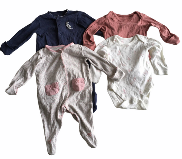 Girls Mixed L/S Bodysuit and Sleepsuit Bundle x 4 - Girls 0-3m