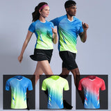 New Tennis shirts Men women short sleeve golf table tennis shirts  Gym sport clothing badminton
