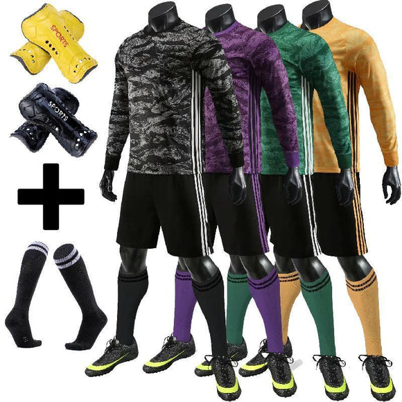 Kids Adult Soccer Jersey Set New Soccer Goalkeeper Uniform Men Child Football Uniform Long sleeve