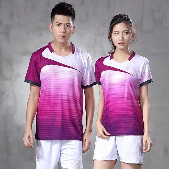Men women short sleeve table tennis shirts gym sport clothing badminton shirt outdoor running