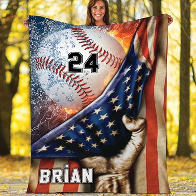 American Flag Baseball Fire Water Thunder Customized Name and Number Fleece Blanket #610h