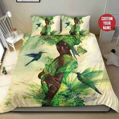 Black Girl Hummingbird Custom Name Duvet Cover Bedding Set #38H