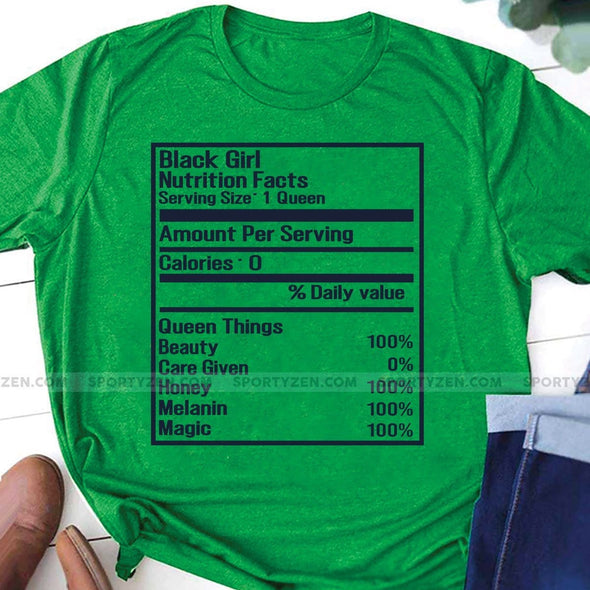 Black girl Nutrition facts T-shirt