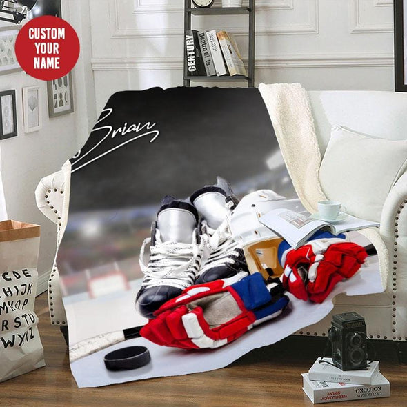 Ice Hockey Player Customized Name Fleece Blanket #0508L