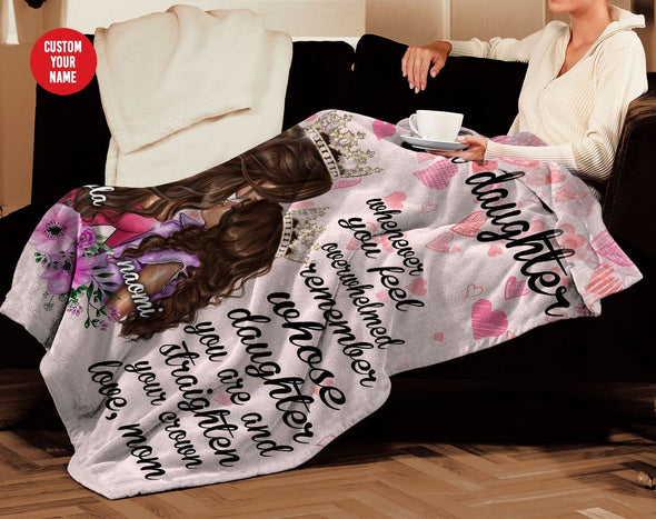 Black queen mom & daughter Custom name blankets #58H