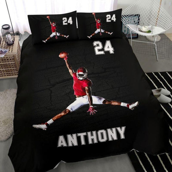 Football Jumping Player Cool Custom Duvet Cover Bedding Set with Your Name and Number #611H