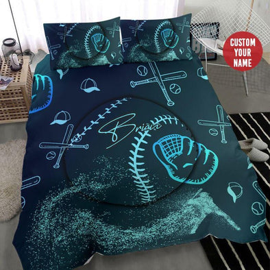 Baseball Blue Light Custom Duvet Cover Bedding Set with Name #710H
