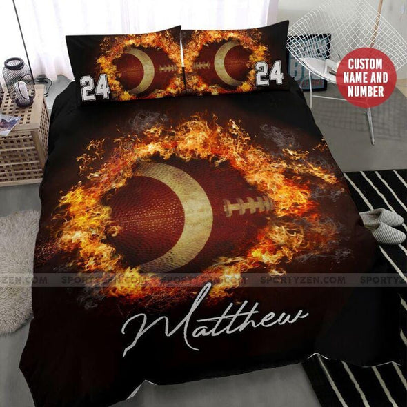 Football Fire Ball Custom Duvet Cover Bedding Set with Your Name And Number #806H