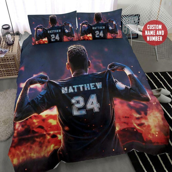 Soccer Player Fire Custom Duvet Cover Bedding Set with Your Name #0408h